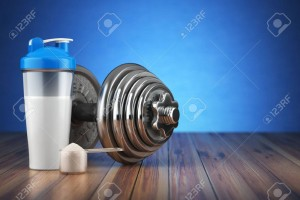 64134032-dumbbell-and-whey-protein-shaker-sports-bodybuilding-supplements-or-nutrition-fitness-or-healthy-lif